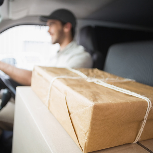 Courier on his way to deliver a package